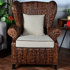 Wingback Wicker Chair Bayou Breeze Averi Indoor Outdoor Rattan Rolled Wingback Chair