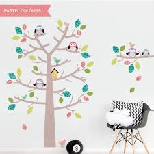 woodland tree and owls on tree branch wall decal sticker set