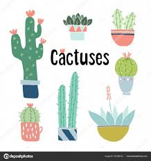 set of cute hand drawn cactus and succulent plants in pots