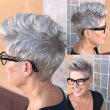 women u0027s messy silver brushed up textured pixie crop short hairstyle