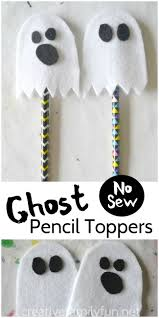 no sew ghost pencil topper classroom treats pencil toppers and