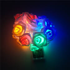 decoration garden party battery powered holiday lighting 20 x led novelty rose flower