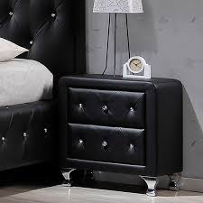 Modern Black Nightstand Stella U0027 Black Foam Padded Modern Night Stand Free Shipping Today