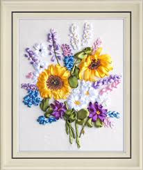 ribbon embroidery flower garden amazon com handmade ribbon embroidery