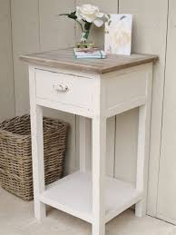 White Ash Bedroom Furniture Rectangle Glass Bed Side Table With Black Solid Wood Drawer In