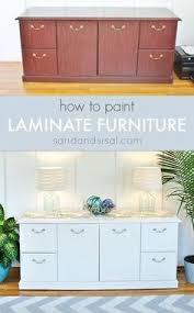 Upcycle Laminate Furniture - painting laminate cabinets with no prep work repurpose and