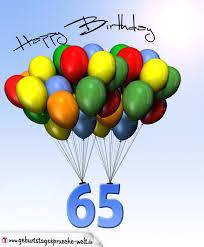 geburtstagssprüche 65 geburtstagskarte mit luftballons zum 65 geburtstag
