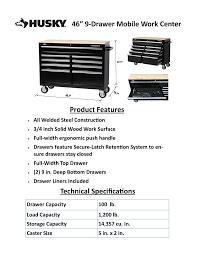 gorilla platform home depot black friday husky 46 in 9 drawer mobile workbench with solid wood top black
