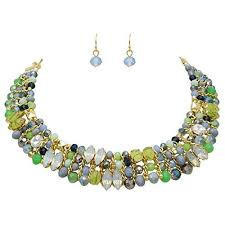 crystal bead necklace jewelry images Crystal bead and stone statement collar necklace set green jpg