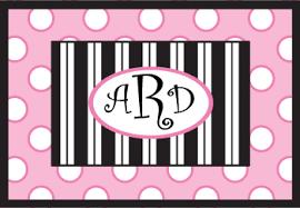 Black Polka Dot Rug Personalized Monogram Doormats