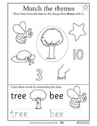 kindergarten preschool reading writing worksheets rhyming words