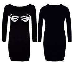Skeleton Dress Womens Ladies Halloween Skeleton Hand Bones Print Tunic