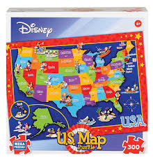 Disney Florida Map by Amazon Com Mega Puzzles Usa Disney Map 300 Pieces Toys U0026 Games