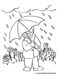 rainy spring coloring sheet create a printout or activity