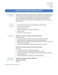 Sample Resume Format For Teacher Job by Substitute Resume Resume For Your Job Application