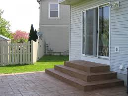 Backyard Stamped Concrete Patio Ideas by Square Concrete Wedding Cake Steps With Grand Ashler Slate Stamped