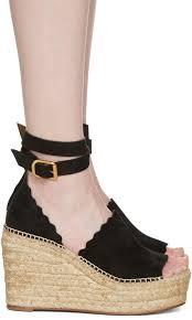 chloé black suede lauren espadrille wedge sandals women chloe