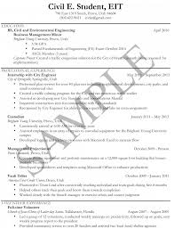 Civil Engineering Student Resume Sample Resumes University Career Services