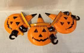 vintage halloween ornaments vintage halloween cake toppers three hard plastic jack o lantern