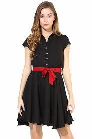 black skater dress black skater dress with bow belt for women the vanca