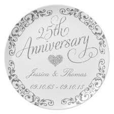 25th wedding anniversary plates 25th wedding anniversary melamine plate zazzle