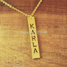 personalized bar pendant necklace find more pendant necklaces information about cut out nameplate