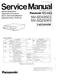 panasonic nv sd435ee 235ee service manual download schematics