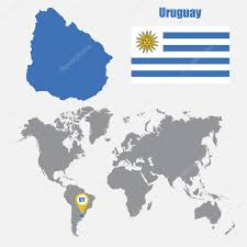 Flag Uruguay Uruguay Map On A World Map With Flag And Map Pointer Vector