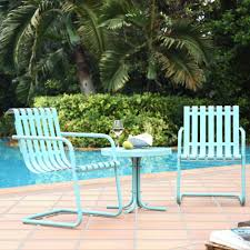 Metal Garden Table And Chairs Crosley Furniture Gracie 3 Piece Metal Outdoor Conversation