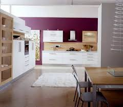 modern kitchen design ideas with white cabinets and purple wall
