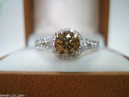 brown diamond engagement ring fancy chagne brown diamond engagement ring 1 25 carat 14k white