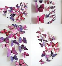 Stick On Wall Trixes Pack Of 12 Pink And Purple 3d Butterflies Stick On Wall