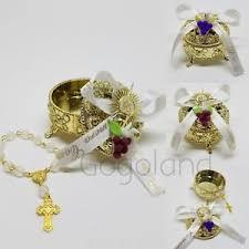 1st communion favors 12 mini rosary gold trinket box communion favors primera