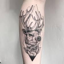 tattoo on leg for women tattoo deer stag flower leg tattoo tattoo for women animals