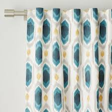 Teal Curtains Cotton Canvas Ikat Gem Curtains Set Of 2 Blue Teal West Elm
