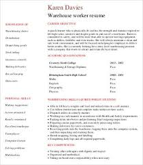 Data Warehouse Sample Resume by Warehouse Worker Resume 7 Free Sample Example Format Free