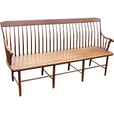 19th c step back windsor bench with bamboo turned legs from