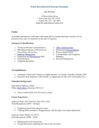 Resume Objective Examples For Receptionist Position by Hotel Receptionist Resume Free Download Vinodomia