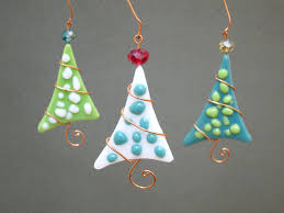 tree ornaments 3 personalized fused glass polka dot