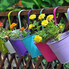 Home Decor Flower Metal Wall Buckets Planter Home Decor Flower Tub Pot Hook Hanging