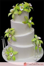 Wedding Cake Green Green Cymbidium Orchid Birthday Cake Celebration Cakes