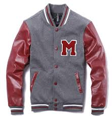 red grey mens letter m leather sleeves cotton jacket mens letter