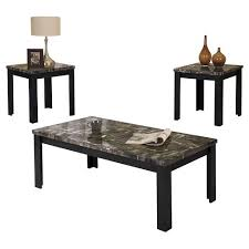 coffee and end tables for sale 3 piece carly pack coffee end table set faux marble and black acme