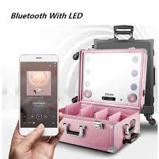 bridal makeup box bluetooth led dimming with light mirror universal casters