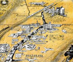 Downtown Las Vegas Map by Vintage Infodesign 140 Bugsy Siegel Flamingo Hotel And Las