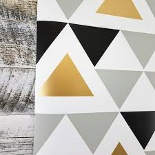 Peel And Stick Wallpaper by Aztec Black U0026 Gold Geometric Triangle Peel And Stick Wallpaper U2013 D