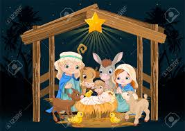 christmas nativity scene with holy family royalty free cliparts