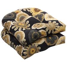 Patio Lounge Chair Cushions by Amazon Com Pillow Perfect Indoor Outdoor Black Yellow Floral