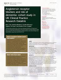 Blockers Uk Angiotensin Receptor Blockers And Risk Of Dementia Cohort Study