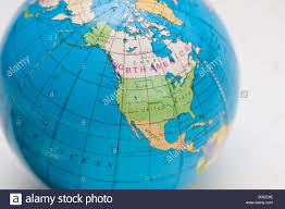 us map globe a globe showing the map of united states and canada stock photo